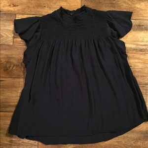 New Directions Navy blouse. Size petite large.